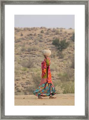 India, Rajasthan, Manvar, Desert, Sand Framed Print by Emily Wilson