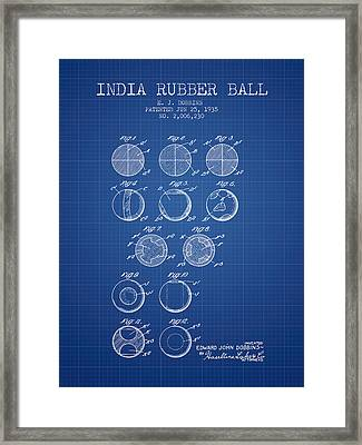 India Rubber Ball Patent From 1935 -  Blueprint Framed Print by Aged Pixel