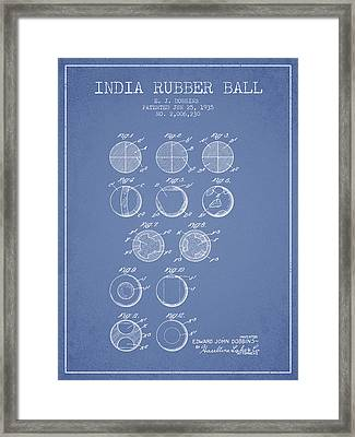 India Rubber Ball Patent From 1935 -  Light Blue Framed Print