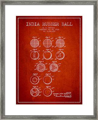 India Rubber Ball Patent From 1935 -  Red Framed Print