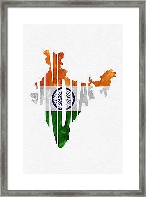 India Typographic Map Flag Framed Print by Ayse Deniz