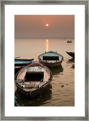 India, Varanasi Boats On The Ganges Framed Print by Gavriel Jecan