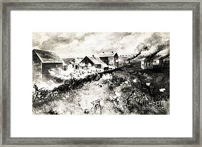 Indian Attack On New Ulm, Minnesota Framed Print by Wellcome Images