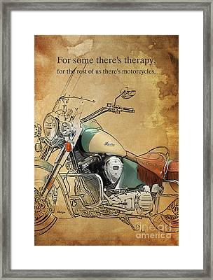 Indian Bike Portrait And Quote Framed Print by Pablo Franchi