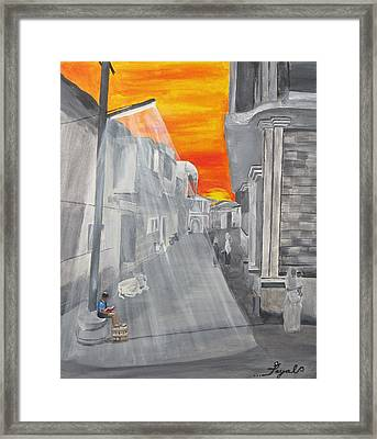 Indian Boy Reading By Lamp Post In Village India Framed Print