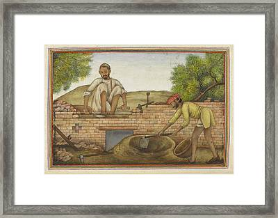 Indian Bricklayer Framed Print by British Library