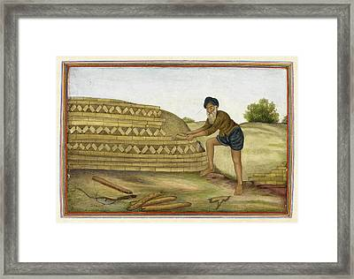 Indian Brickmaker Framed Print by British Library