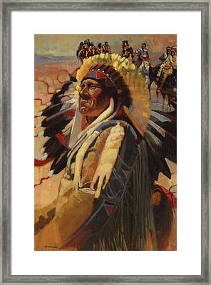 The Chief Indians On Horseback Framed Print by Don  Langeneckert