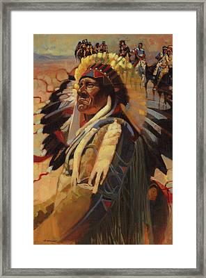 The Chief Indians On Horseback Framed Print