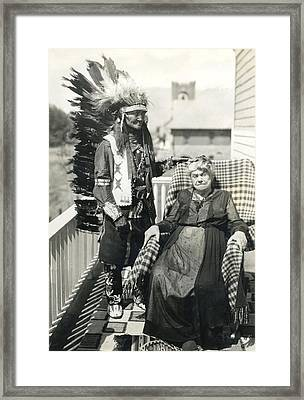 Framed Print featuring the photograph Indian Chief And Woman by Charles Beeler