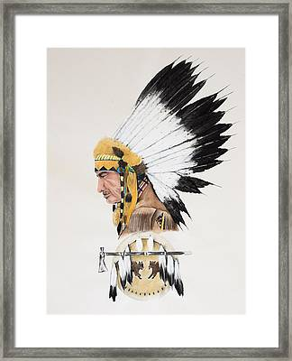 Indian Chief Contemplating Framed Print