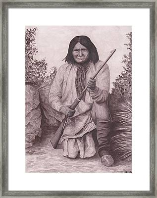 Indian Chief Geromino Framed Print by Billie Bowles