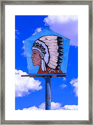Indian Chief Sign Framed Print by Garry Gay