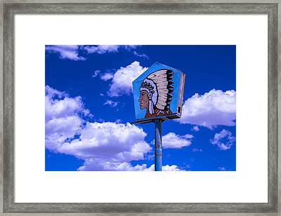 Indian Chief Sign In Clouds Framed Print