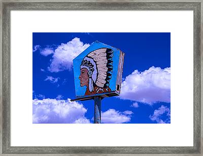 Indian Chief Sign With Clouds Framed Print