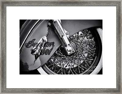 Indian Chief Spoked Wheel Monochrome Framed Print