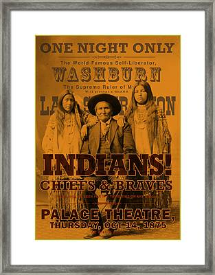 Indian Chiefs And Braves Framed Print by Gary Grayson