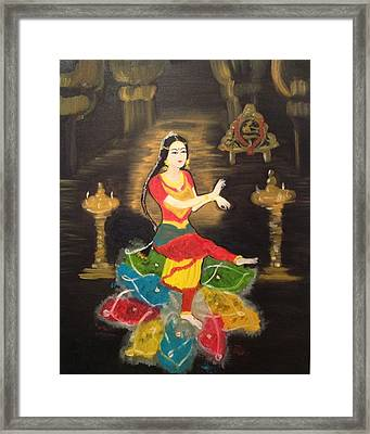 Indian Classical Dancer Framed Print by Brindha Naveen