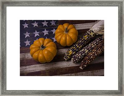 Indian Corn On Old Flag Framed Print by Garry Gay