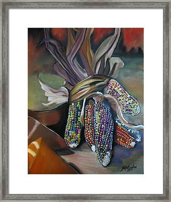Indian Corn Pastel Framed Print