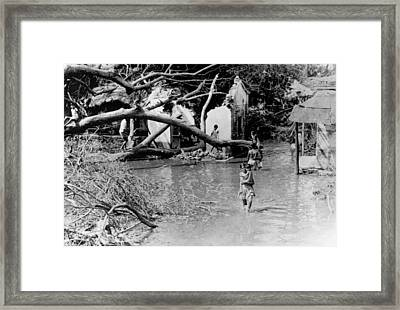 Indian Cyclone Ruins Framed Print by Underwood Archives