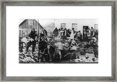 Indian Dancers At Potlatch In Sitka Alaska Framed Print