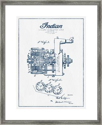 Indian Disk Clutch Patent Drawing From 1929 - Blue Ink Framed Print by Aged Pixel