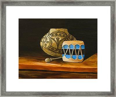 Indian Drum Framed Print by Darice Machel McGuire
