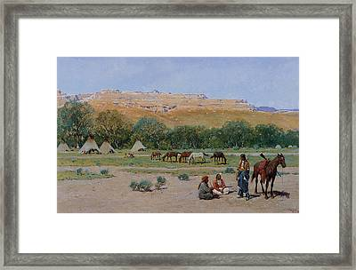 Indian Encampment Framed Print by Henry Farny