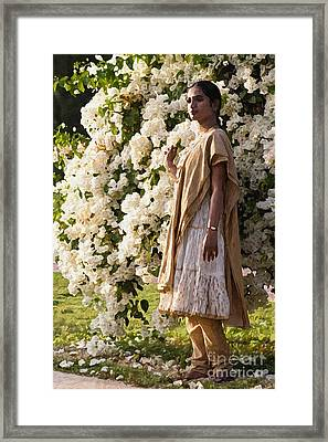 Indian Girl By The Flowery Tree Framed Print by Dominique Amendola