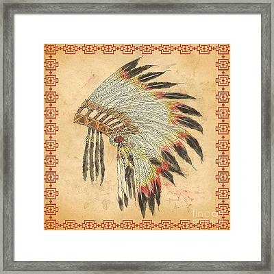 Indian Head Dress-a Framed Print by Jean Plout