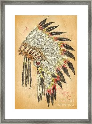 Indian Head Dress-b Framed Print by Jean Plout
