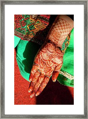Indian Henna Tattoo Design On Hand Framed Print by Charles O. Cecil