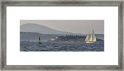 Framed Print featuring the photograph Indian Island Lighthouse - Rockport - Maine by Marty Saccone