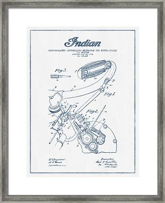 Indian Motorcycle Patent From 1904 - Blue Ink Framed Print by Aged Pixel