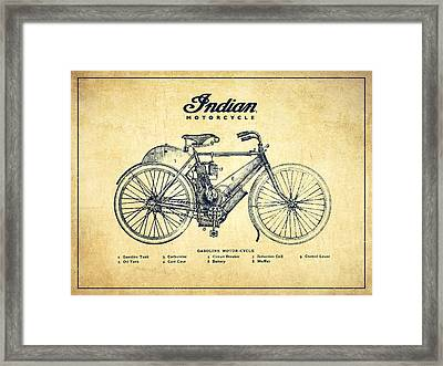 Indian Motorcycle - Vintage Framed Print by Aged Pixel