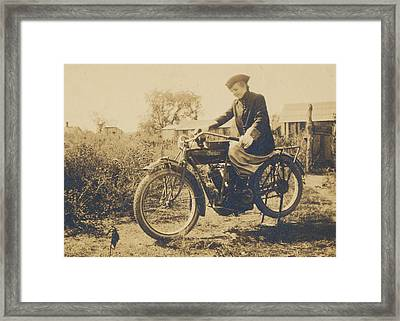 Framed Print featuring the photograph Indian Motorcycle Woman Rider by Paul Ashby Antique Images