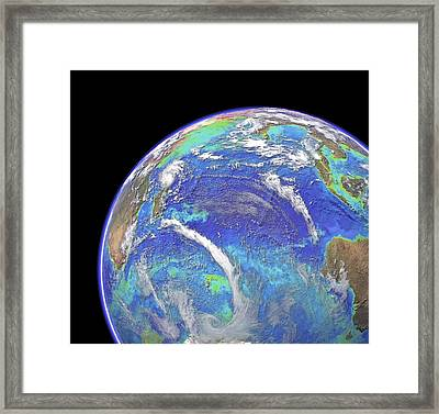 Indian Ocean, Chlorophyll And Bathymetry Framed Print by Science Photo Library
