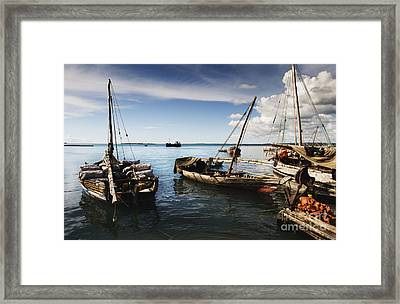 Framed Print featuring the photograph Indian Ocean Dhow At Stone Town Port by Amyn Nasser