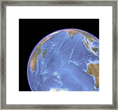 Indian Ocean, Sea Floor Topography Framed Print by Science Photo Library