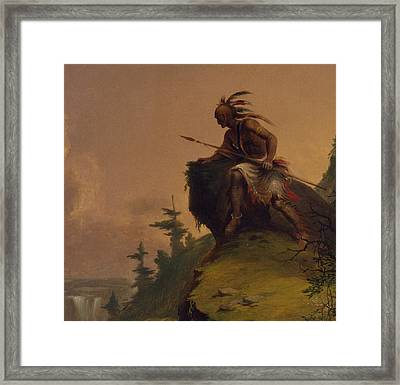 Indian On A Cliff Framed Print by Jesse Talbot