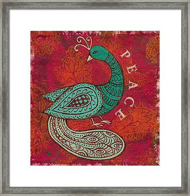 Indian Peacock Framed Print by Jennifer Mazzucco