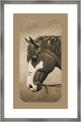 Indian Pony War Horse Sepia Phone Case Framed Print by Crista Forest