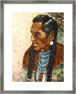 Indian Profile Study Framed Print by Amanda Hukill