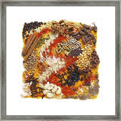 Indian Pulses And Spices Framed Print by Paul Cowan