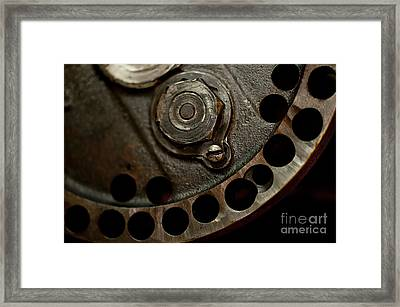 Indian Racer Crankshaft Fly Wheel Framed Print by Wilma  Birdwell