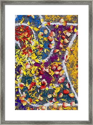 Indian Rangoli With Flower Petals Framed Print