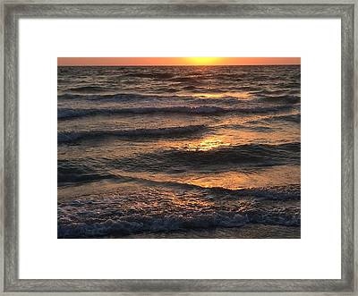 Indian Rocks Beach Waves At Sunset Framed Print