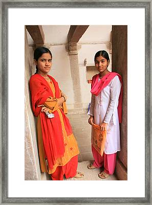 Indian Sewing Students Framed Print by Amanda Stadther