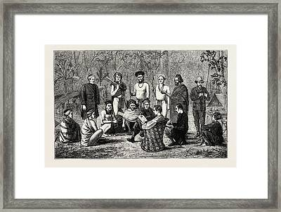 Indian Sketches The Lately Independent Garo Chiefs Framed Print
